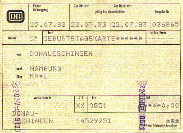 Bahnfahrkarte 22. Juli 1983