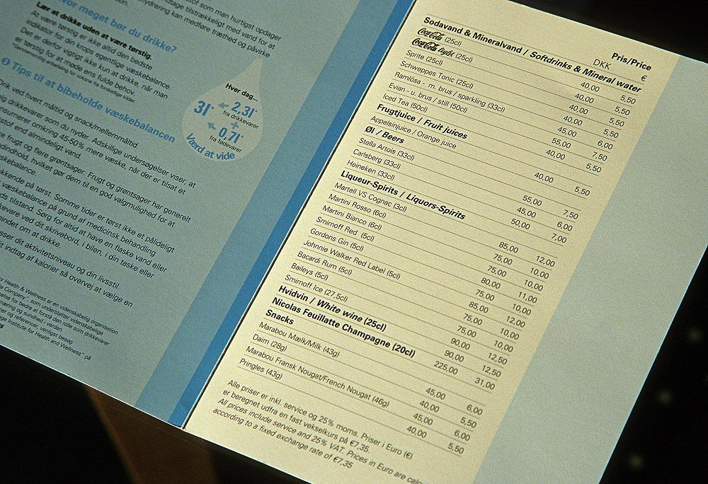 Hilton Copenhagen Airport Hotel: Minibarkarte