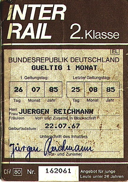 Interrail Ticket 1985