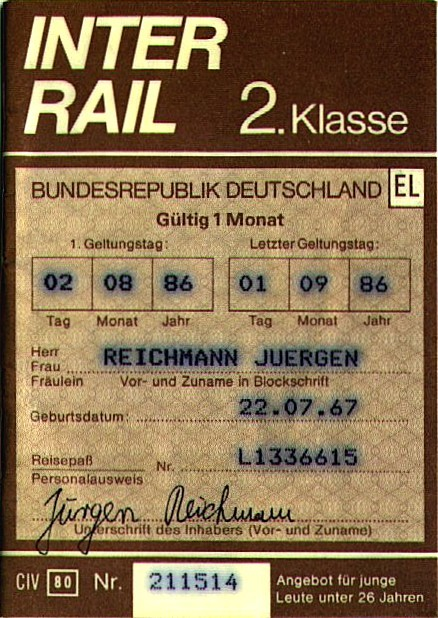 Interrail Ticket 1986
