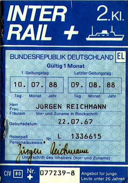Interrail Ticket 1988