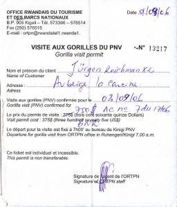 """Gorillabesuchsgenehmigung (""""das Permit"""")"""