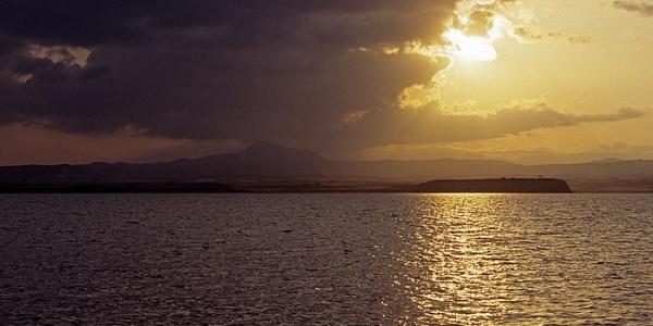 Sonnenuntergang über dem Salzsee bei Larnaka
