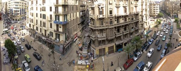 Blick aus dem Grand Hotel: Talaat Harb Road - Tagsüber