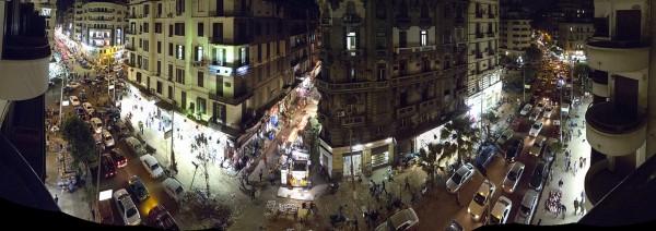 Blick aus dem Grand Hotel: Talaat Harb Road - Nachts