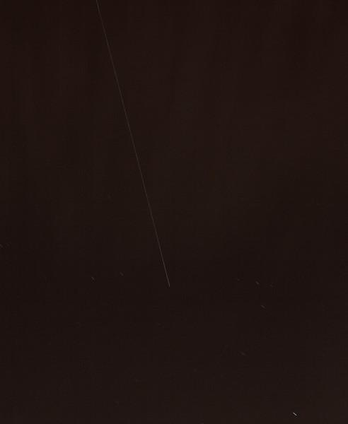 21. August 2012, 21:31:05 Uhr, ISS über München (Belichtungszeit: 39 s, Brennweite: 88 mm)