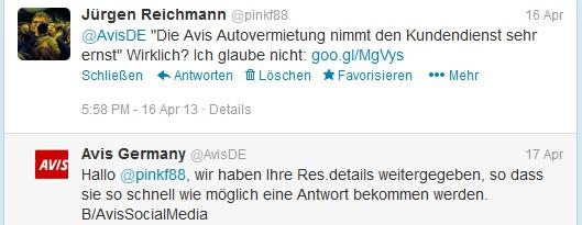 Eine Nachricht an den Twitter-Account von Avis Deutschland