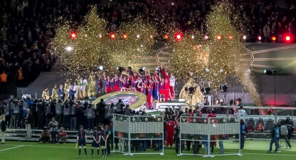 Olympiastadion Berlin, 17. Mai 2014, Siegerehrung für den alten und neuen deutschen Pokalsieger, dem FC Bayern München