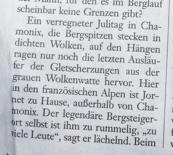 """Frankfurter Allgemeine Sonntagszeitung, 1. August 2014, """"Der Gipfeljäger"""""""