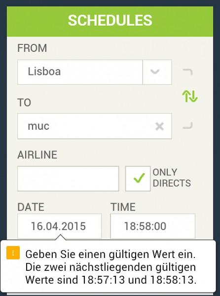 Screenshot der Flughafen-Lissabon-Webseite