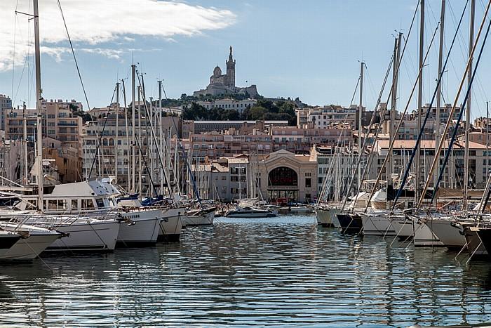 Marseille: Alter Hafen (Vieux-Port) und La Garde mit der Basilique Notre-Dame-de-la-Garde