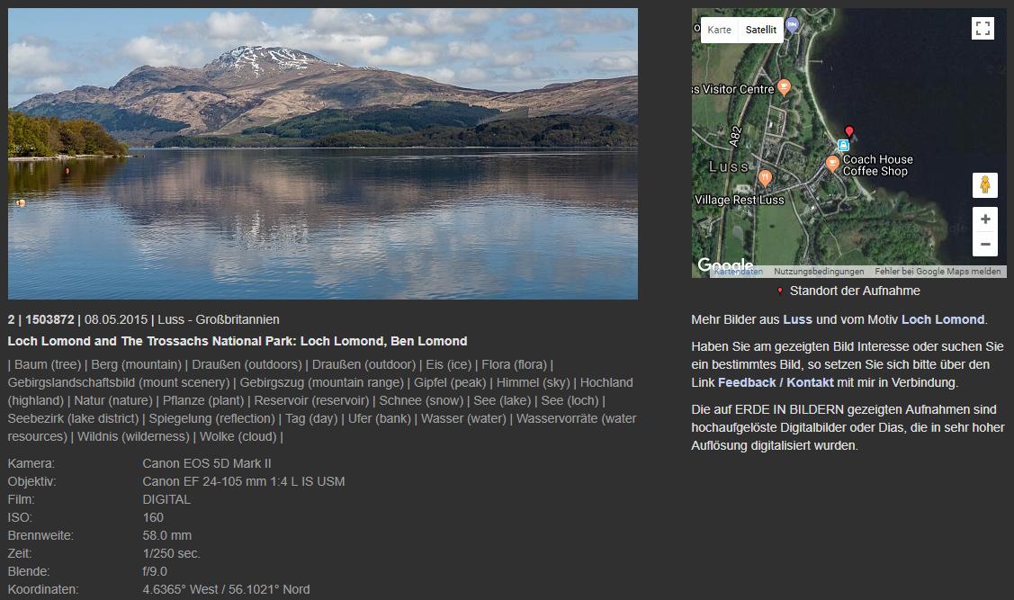 Webseite mit Bild und umfangreichen Informationen